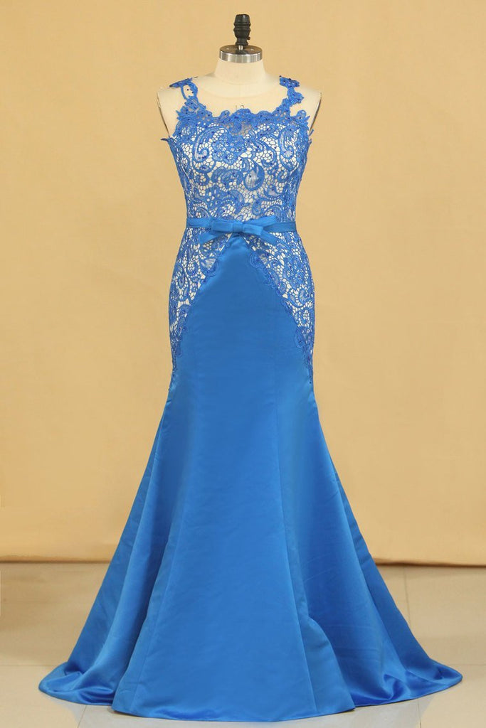 2019 Mermaid/Trumpet Scoop With Sash Satin & Lace Prom Dresses