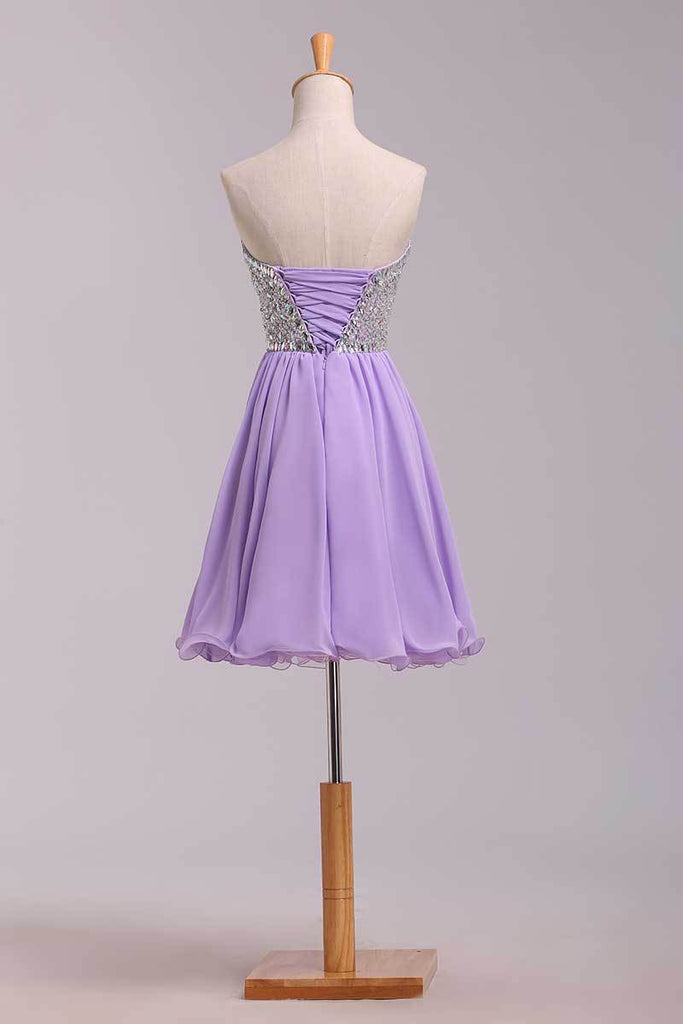 2020 Homecoming Dresses A Line Short/Mini Sweetheart Chiffon With Beads Color Lilac