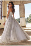 A-Line Bead Silver Spaghetti Straps Sweetheart Slit Tulle Backless Sleeveless Evening STC10759