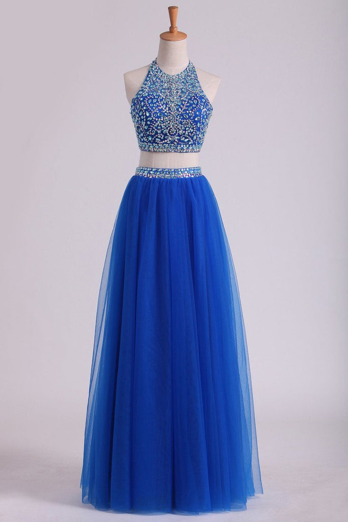 Halter Two Pieces A Line Prom Dresses Beaded Bodice Tulle Floor Length