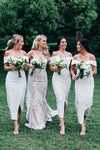 Elegant White Off the Shoulder Split Ankle Length Sheath Bridesmaid Dresses STC15219
