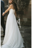 Fairy A-Line V Neck Sleeveless Chiffon Beach Wedding Dresses With Button Simple Bridal STCP6DZLT86