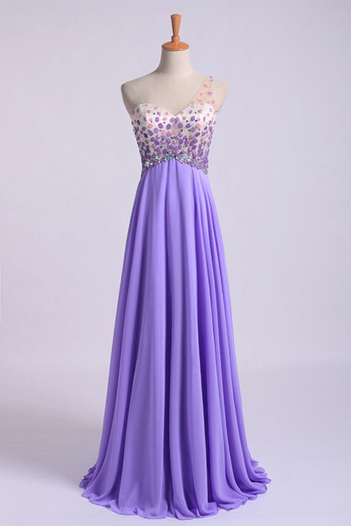 2019 Romantic Prom Dresses A Line One Shoulder With Beadings Tulle And Chiffon Sweep