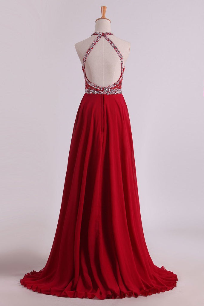 2020 A Line Halter Open Back Prom Dresses Sweep Train Chiffon & Tulle With Beading