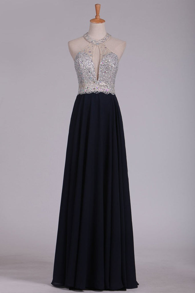 Chiffon Prom Dresses Floor Length Halter A Line With Beads Open Back