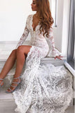 Long Sleeves Mermaid Lace V Neck Wedding Dresses with Slit Wedding STC15651