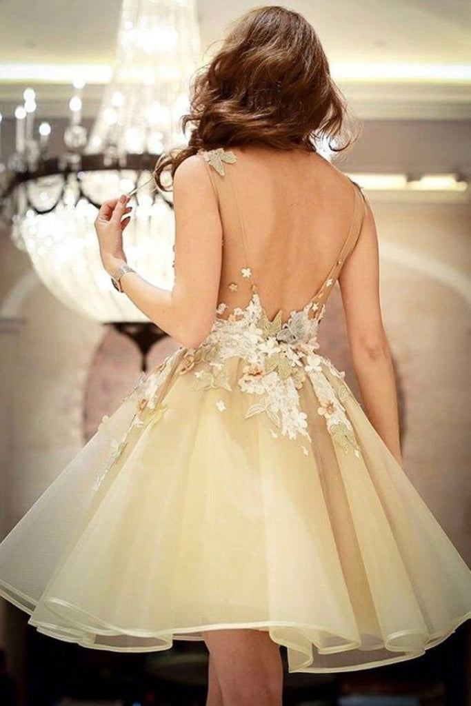 2021 Open Back Homecoming Dresses A Line Scoop With