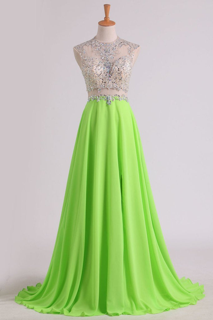 2019 A Line Beaded Bodice Prom Dresses Scoop Chiffon & Tulle With Slit