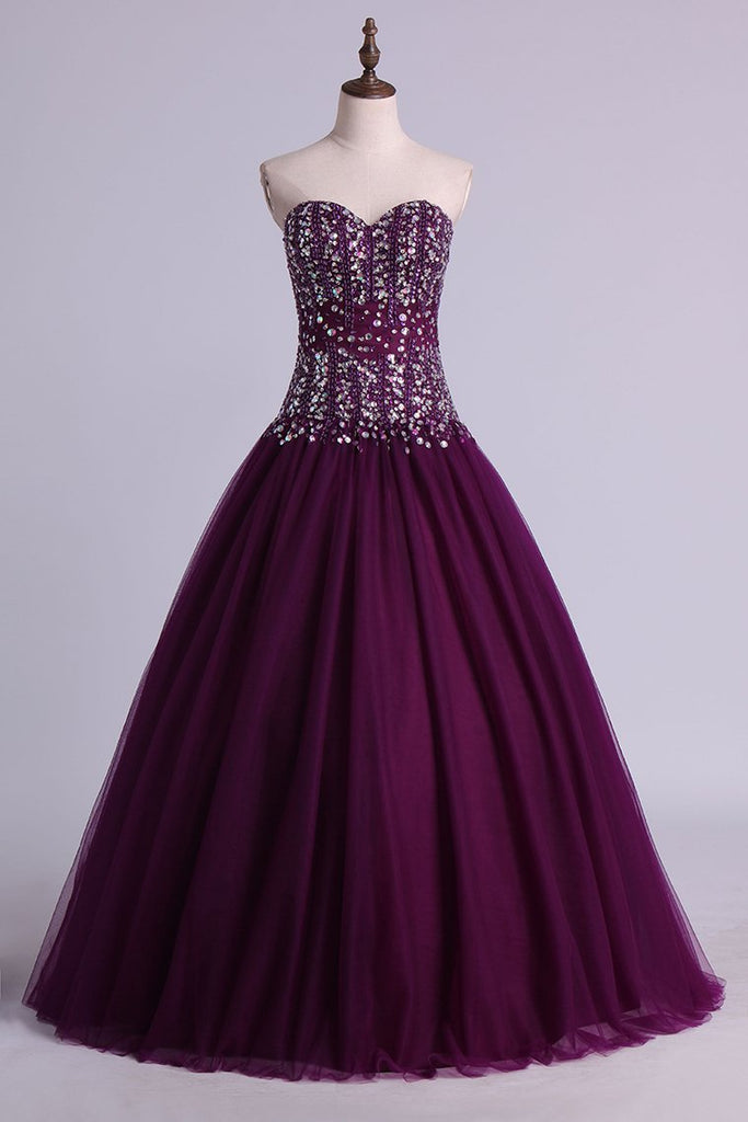 2021 Ball Gown Sweetheart Quinceanera Dresses Beaded Bodice Floor Length Tulle