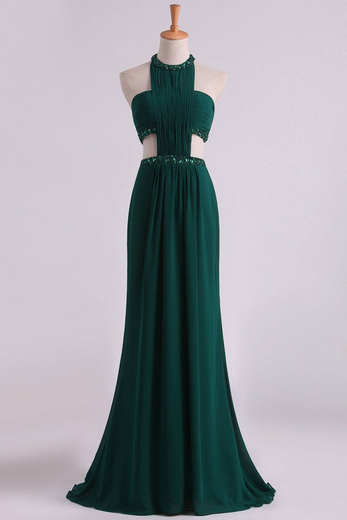 2019 Sexy Open Back Prom Dresses Scoop Chiffon With Ruffles And