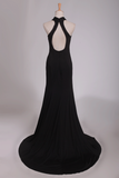 2019 Sexy Open Back Prom Dresses Halter Sheath Spandex With