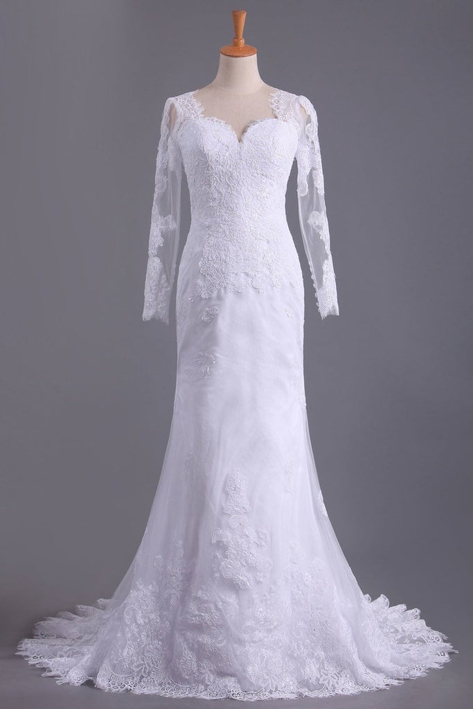 Long Sleeves V Neck  Open Back Wedding Dresses Tulle With Applique Sheath