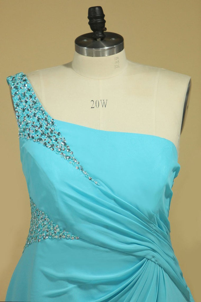 Prom Dresses One Shoulder With Slit And Beads Chiffon