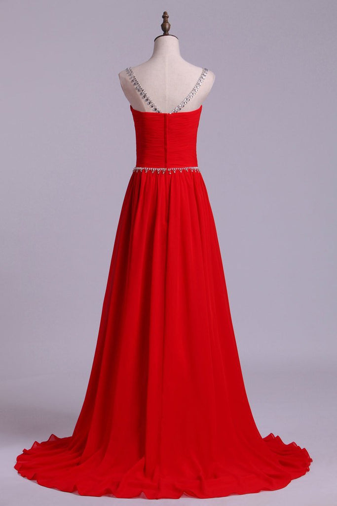 Scoop Prom Dresses A Line Chiffon With Beads And