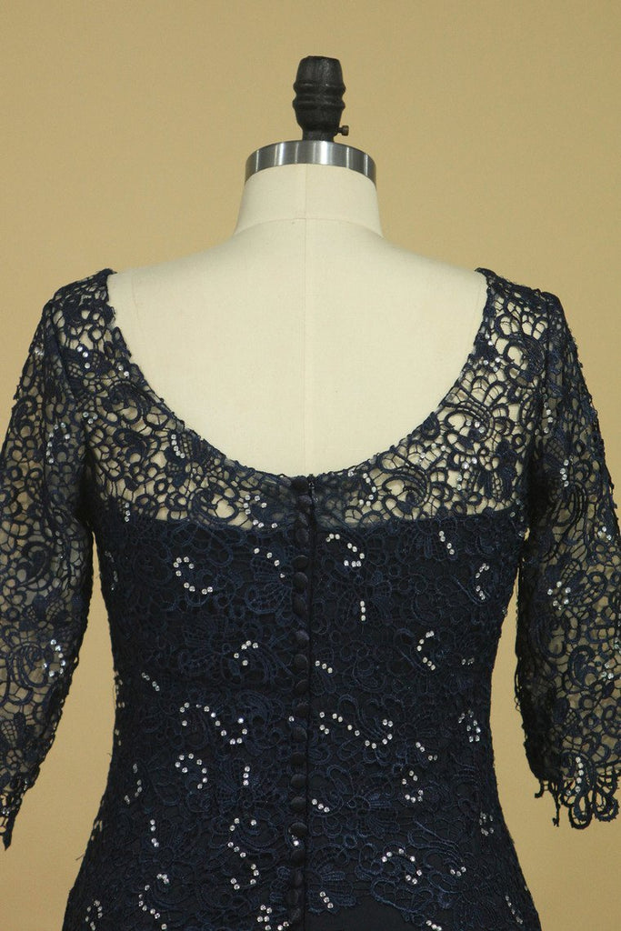 2019 Mother Of The Bride Dresses Scoop 3/4 Length Sleeve Dark Navy Spandex & Lace With Beads