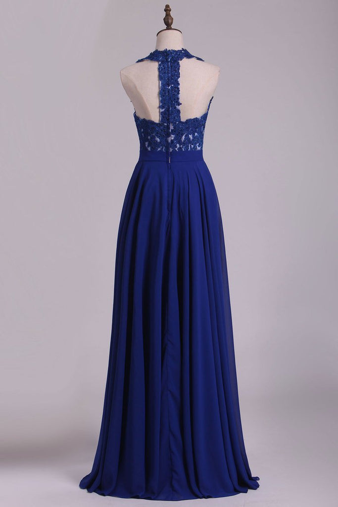 2019 Chiffon V Neck A Line With Applique And Beads Prom Dresses Open Back