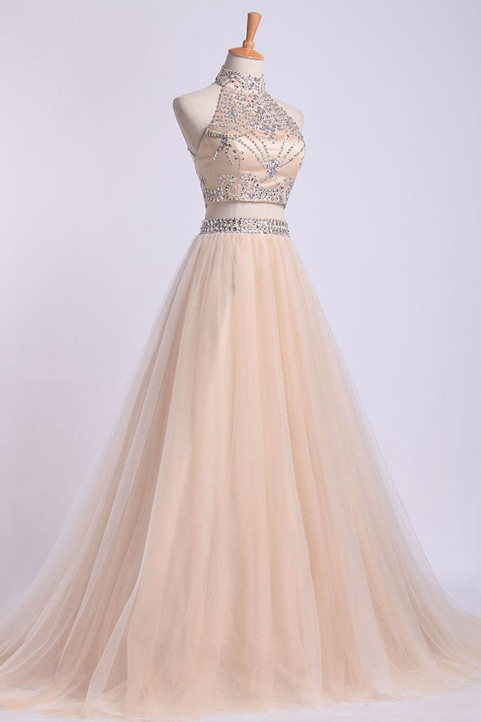 2019 Two-Piece High Neck Prom Dresses A Line Tulle With