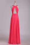 2019 Bridesmaid Dresses Scoop Ruched Bodice Chiffon A Line Floor Length