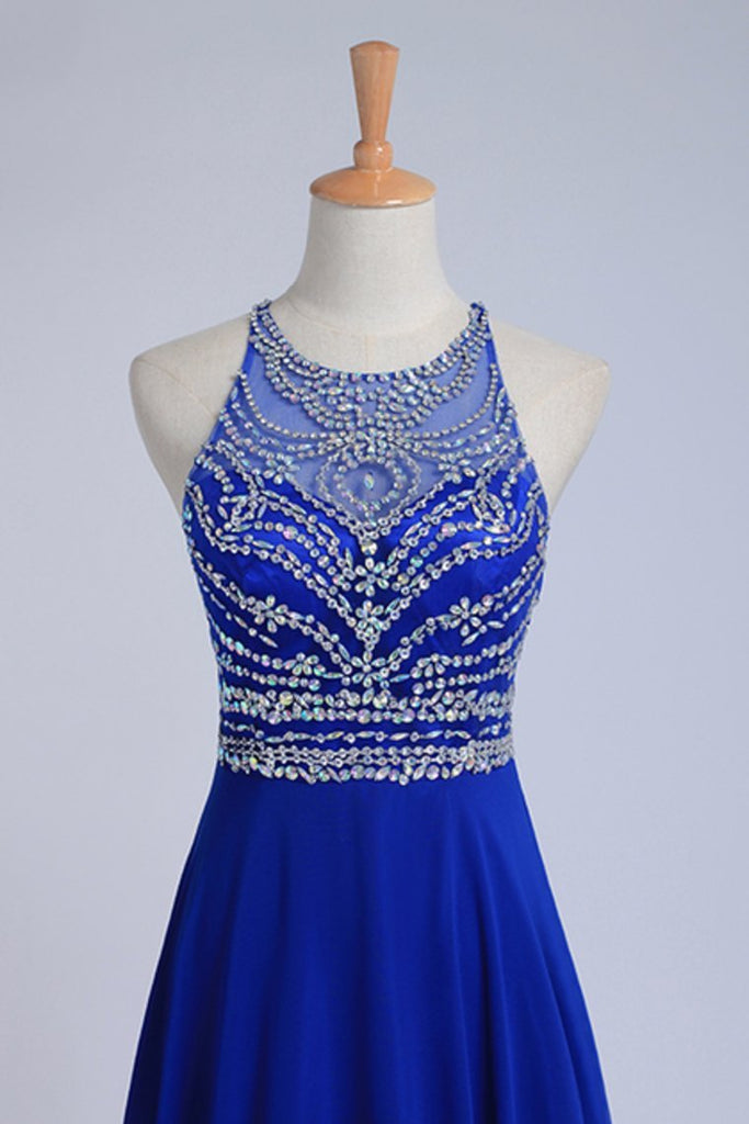 2019 Halter A-Line/Princess Dark Royal Blue Prom Dresses Tulle And Chiffon Sweep Train