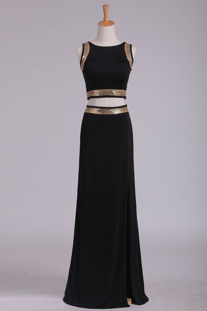 2019 Black Open Back Two Pieces Sheath Prom Dresses Spandex With Beads And Slit