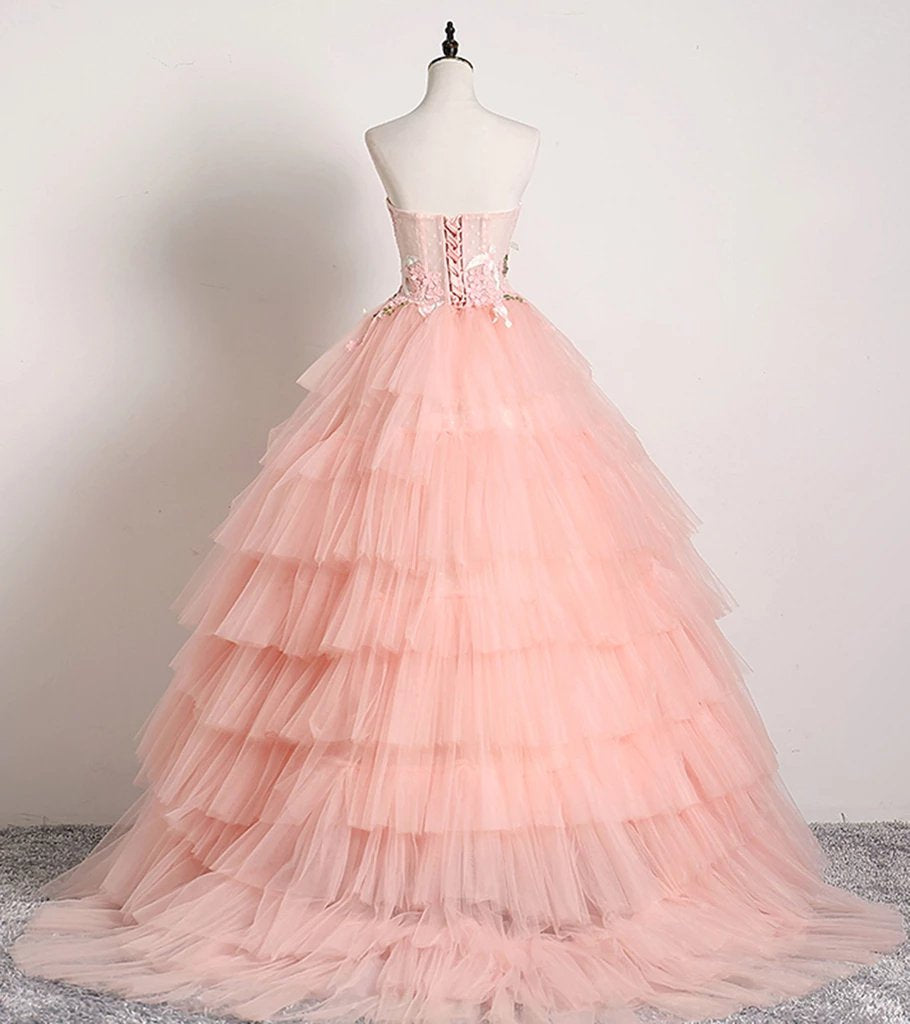 Princess Ball Gown Pink 3D Lace Multi-layered Prom Dresses, Tulle Quinceanera Dresses STC15292
