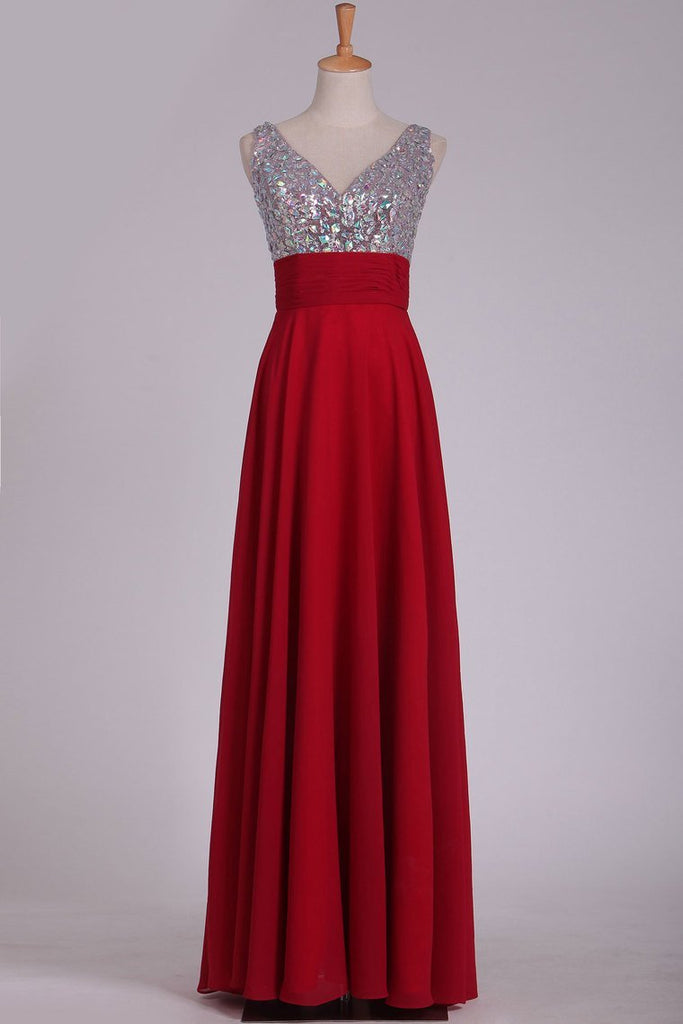 2019 Prom Dresses V Neck Chiffon With Beading A Line Sweep