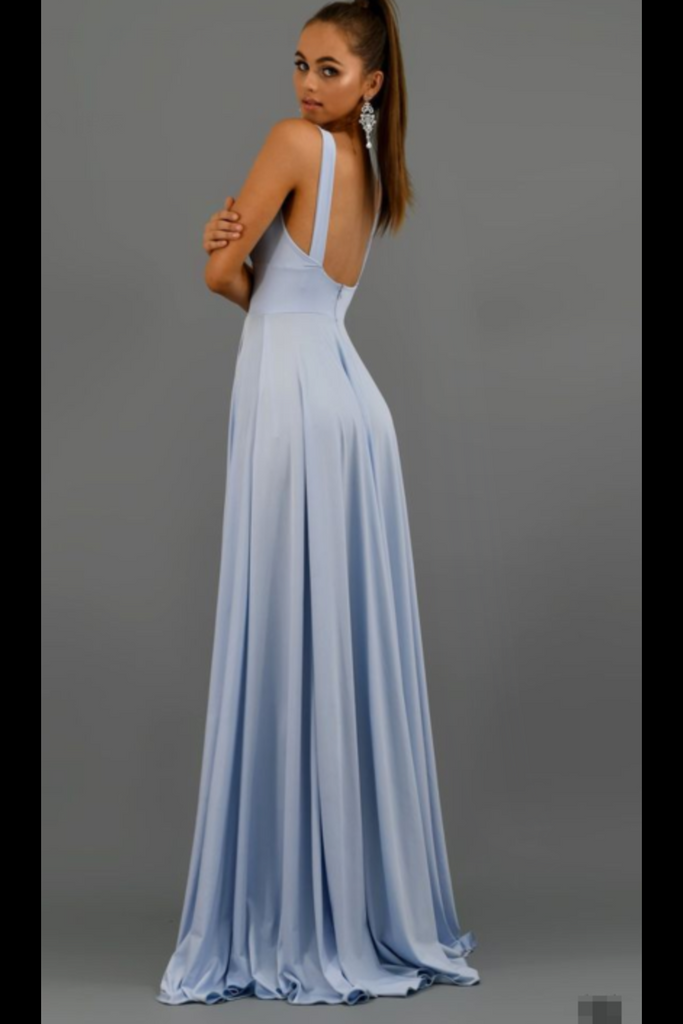 Deep V Neck Blue Long Prom Dresses Simple Bridesmaid Dresses