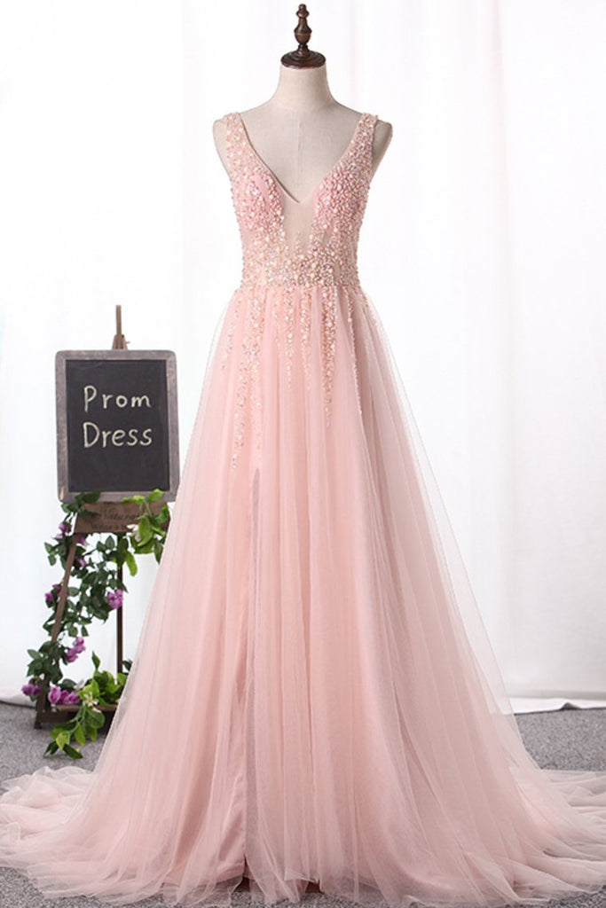 New Arrival Straps A Line Tulle Prom Dresses With Beading And