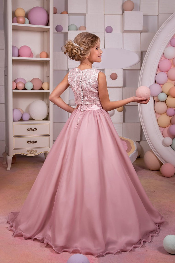 2019 Two-Piece Scoop Chiffon & Lace A Line Flower Girl Dresses Sweep