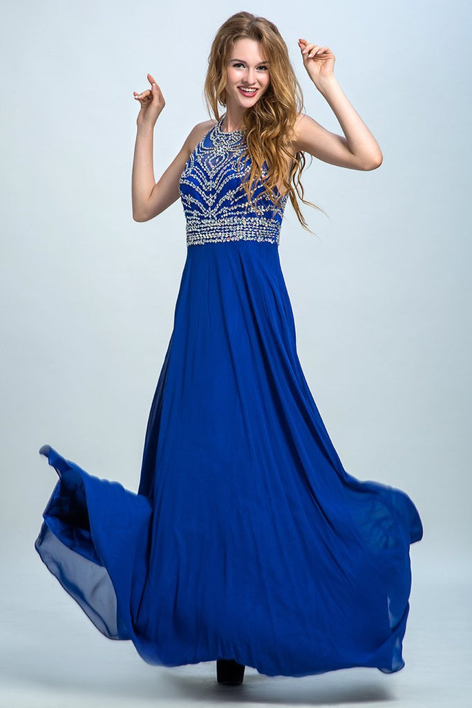 2019 Halter A-Line/Princess Prom Dresses Tulle And Chiffon Dark Royal Blue Sweep Train