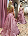 Unique A line Pink Sequins Spaghetti Straps Prom Dresses Evening STC15678