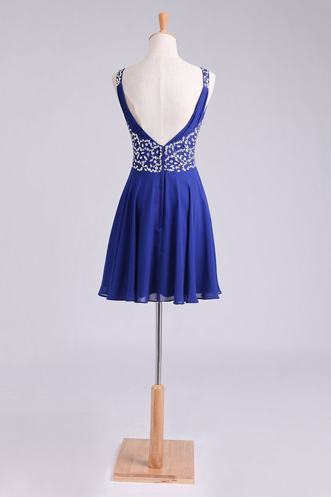Homecoming Dresses Straps A-Line Short/Mini Chiffon With Beads And Ruffles Dark Royal Blue