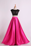 2019 Two Pieces Prom Dresses Scoop Appliqued&Beaded Bodice Floor Length Open Back