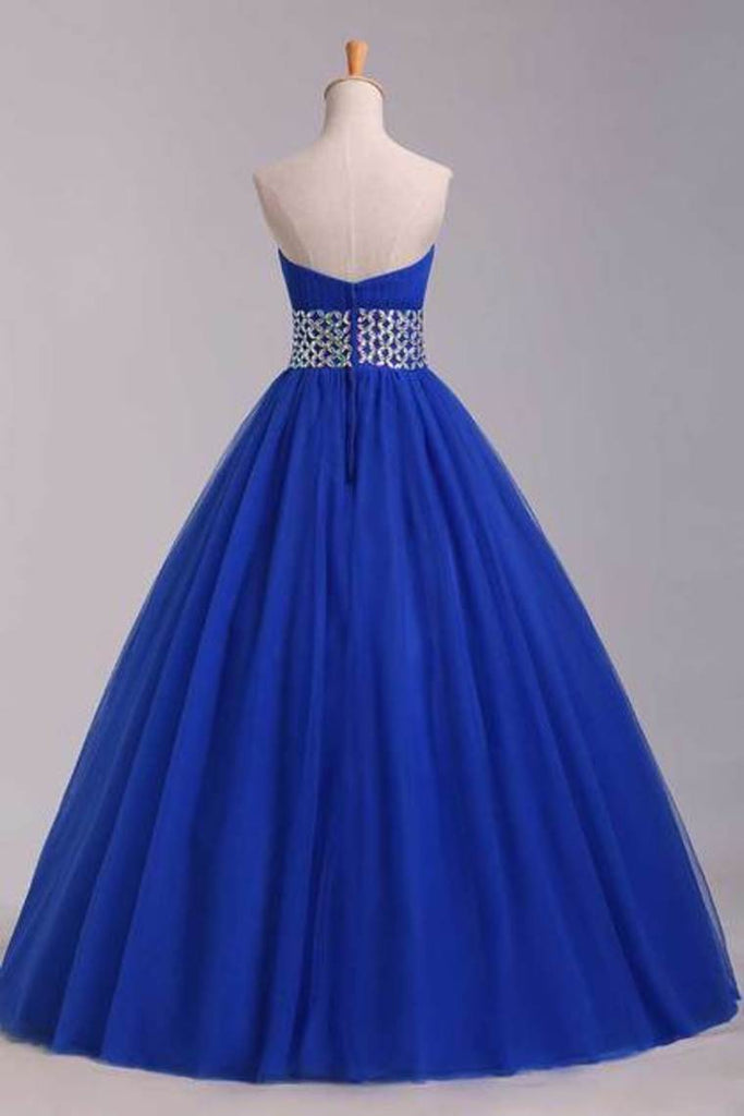 2019 Prom Dress Strapless Dark Royal Blue A Line/Princess Pick Up Tulle Skirt Beaded Waistline
