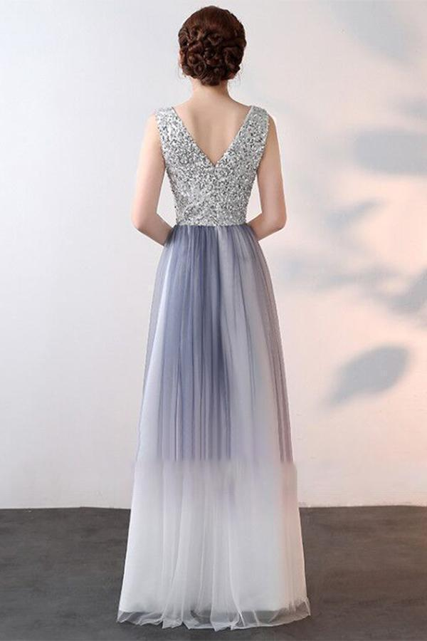 Elegant A-Line Ombre Tulle Beads V-Neck Sleeveless Open Back Prom Dresses