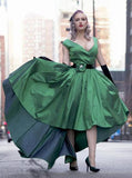 Elegant Sexy A-Line Deep V-neck Cap Sleeve High Low Green Taffeta Prom Dresses