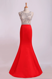 2019 Prom Dresses Two-Tone Bateau Mermaid Beaded Bodice Satin&Tulle Sweep