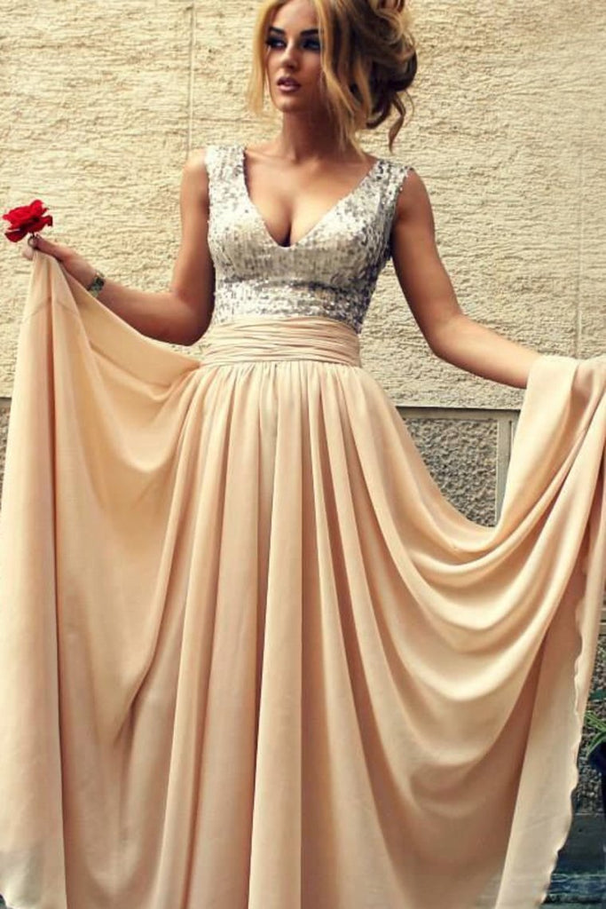 2019 V-Neck Prom Dresses A Line Chiffon Sequined