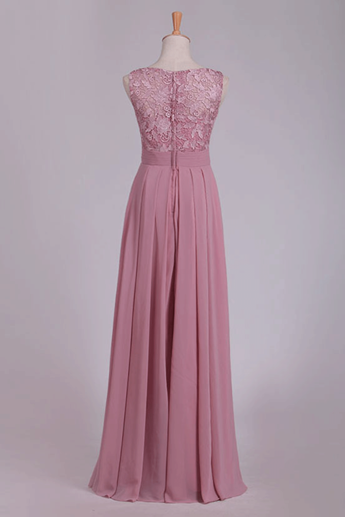 2019 New Arrival Scoop Chiffon Floor Length A Line Prom Dresses