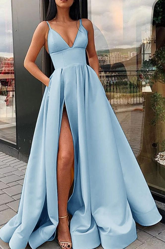 Simple A Line Yellow Spaghetti Straps Satin Prom Dresses with Slit, Party Dresss STC15386
