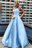 Elegant A Line Satin Jewel Pearls Blue Open Back Prom Evening Dresses With Pockets STC15151