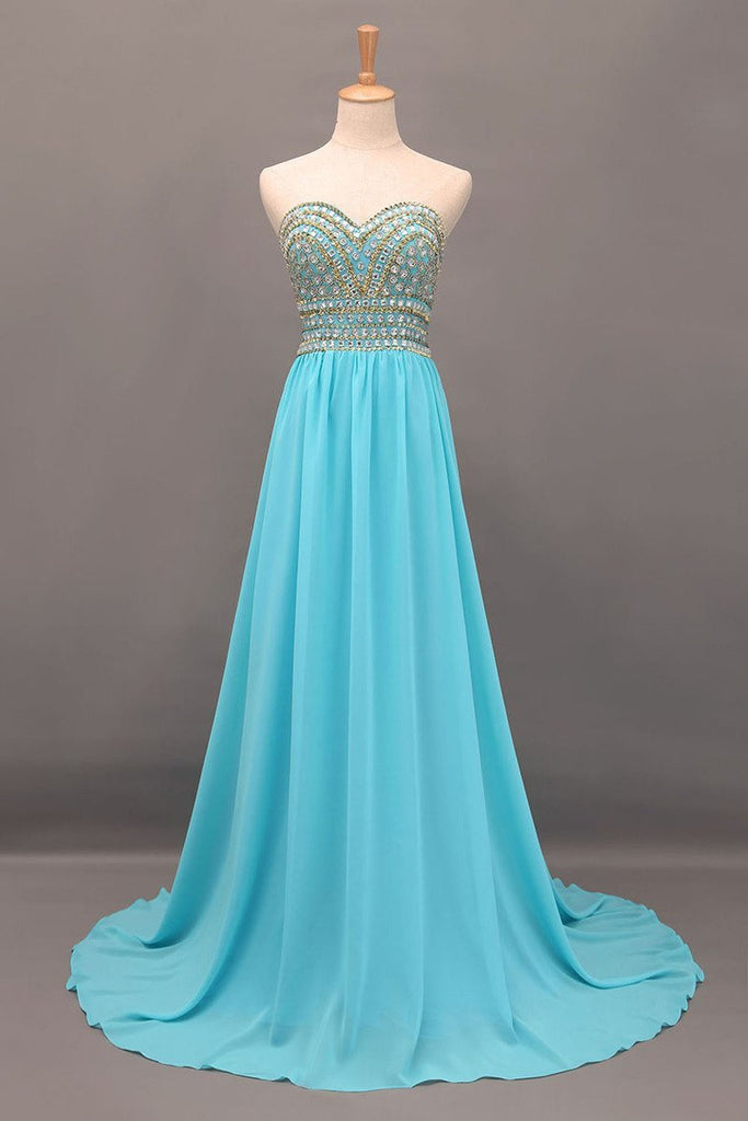 2019 New Arrival Prom Gown A-Line Sweetheart Sweep/Brush Chiffon With Beading&Rhinestone