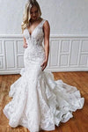 Stunning Mermaid Lace V Neck Backless Wedding Dresses Straps Wedding Gowns STC15438
