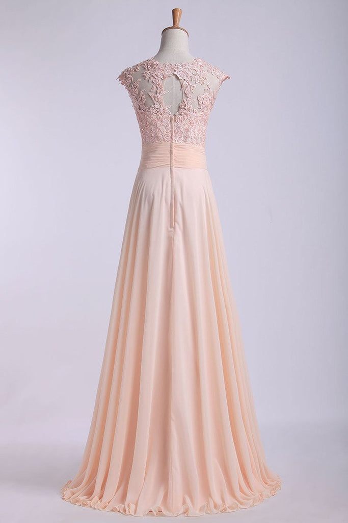 2019 Scoop Prom Dresses A Line Chiffon With Applique And Ruffles Sweep