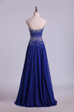 2019 Prom Dresses A Line Sweetheart Floor Length Dark Royal Blue Chiffon