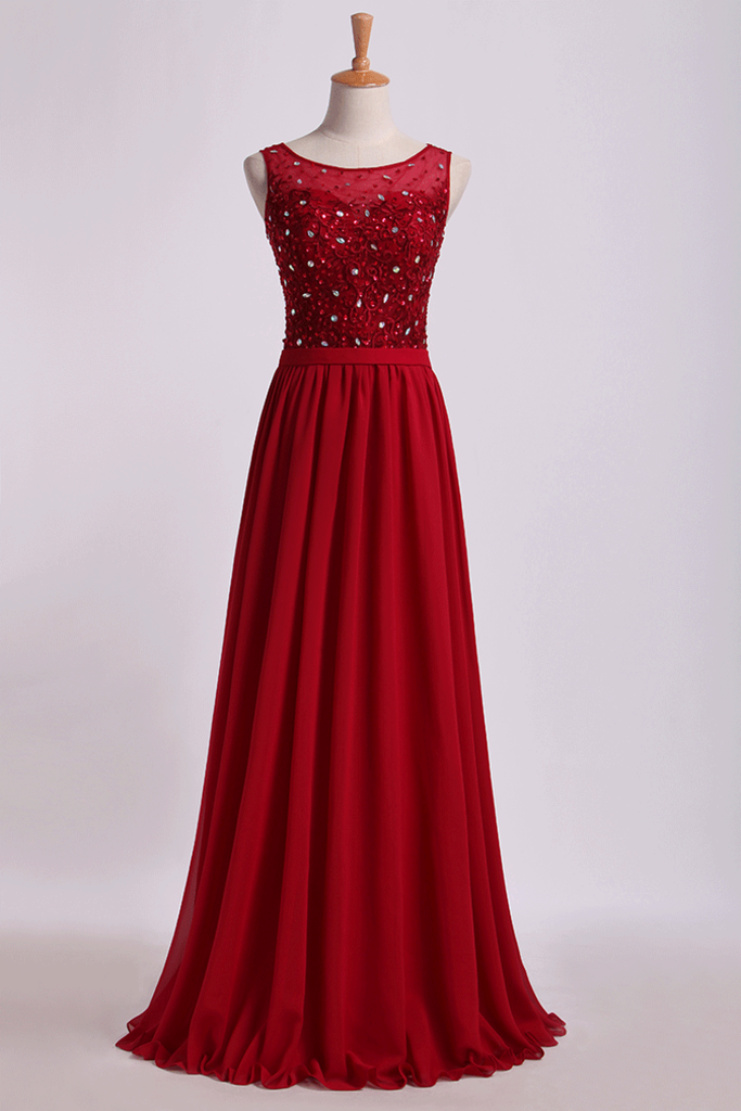 2019 Bateau Prom Dresses A Line Floor Length With Embroidery&Beads Chiffon&Tulle