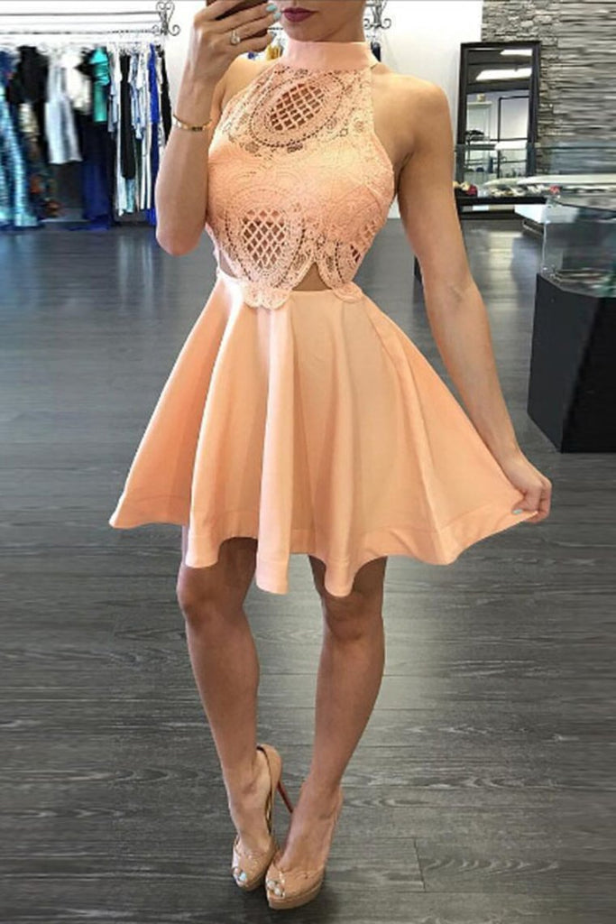 2019 High Neck Homecoming Dresses A Line Satin With Applique