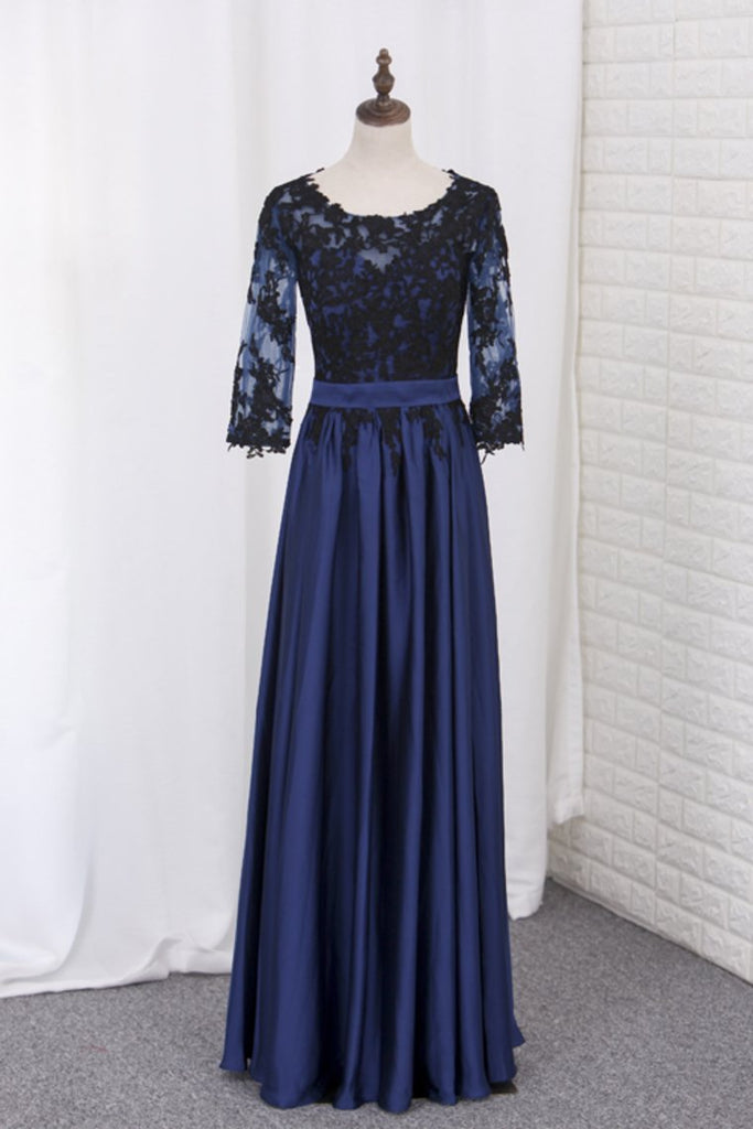 2019 A Line Prom Dresses 3/4 Length Sleeves Scoop Chiffon With Black Applique Floor