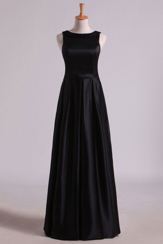 2021 Black A Line Evening Dresses  Cowl Neck Floor Length Satin With Sash
