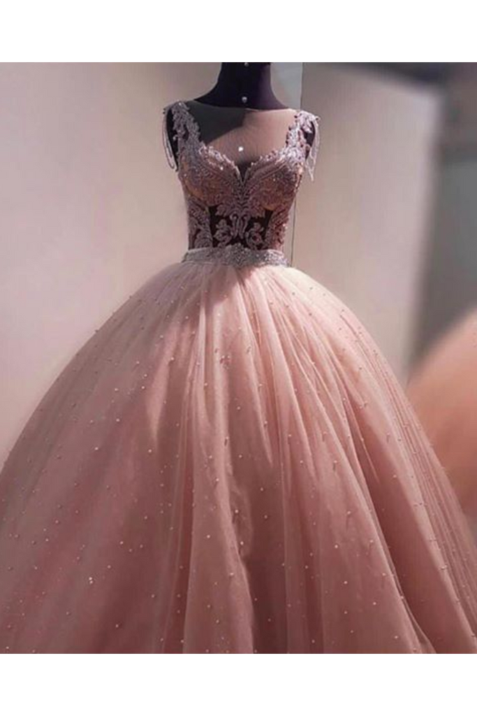 Ball Gown Prom Dress With Beads Floor Length Quinceanera STCPMR2NGAT